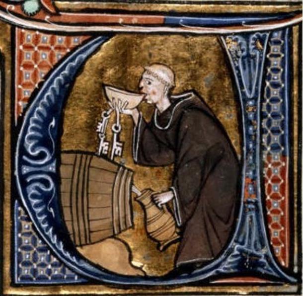 A Monk Cellarer tasting wine from a barrel, Li Livres dou Santé, (13th Century manuscript), France