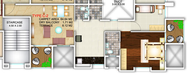 Apex Athena Wakad Pune - 1.5 BHK Flat - C2 Type - 717 sq.ft. Carpet + Dry Balcony + Terrace - for Rs. 41.35 Lakhs (approx)