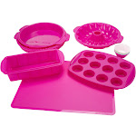 Classic Cuisine Silicone Bakeware Set, Pink - 18 count