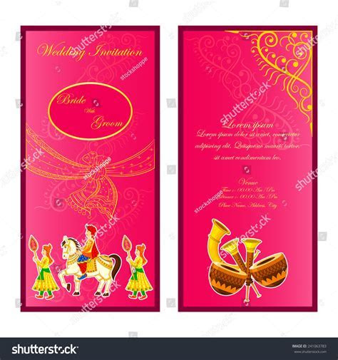 Vector Illustration Indian Wedding Invitation Card Stock