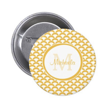 Modern Yellow and White Scallops Monogram and Name 2 Inch Round Button