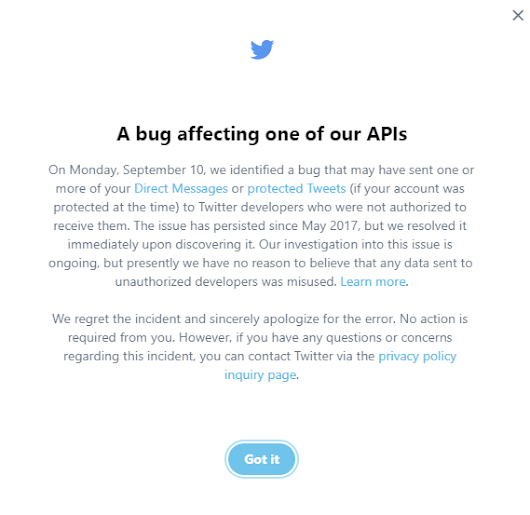 Twitter Says a Now Corrected API Bug May Have Shared Users' Private Message Info
