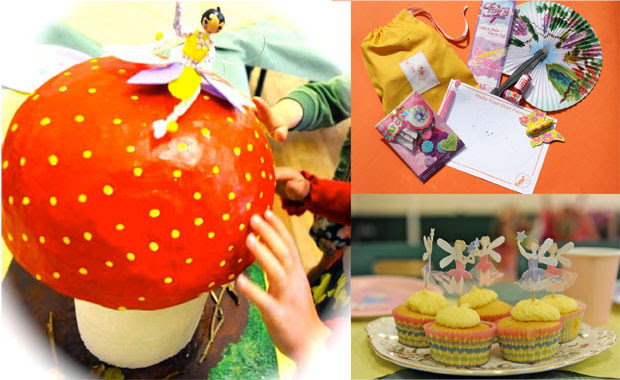 Mrs Fox's Fairy Teaparty with giant mushroom,  cupcakes and party bag.