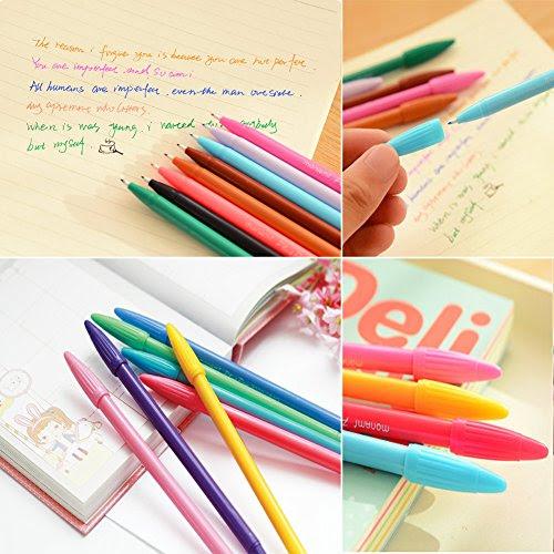 Minnilove 色彩中性ボールペン 24色透明のプラスチックペン入れ 極細