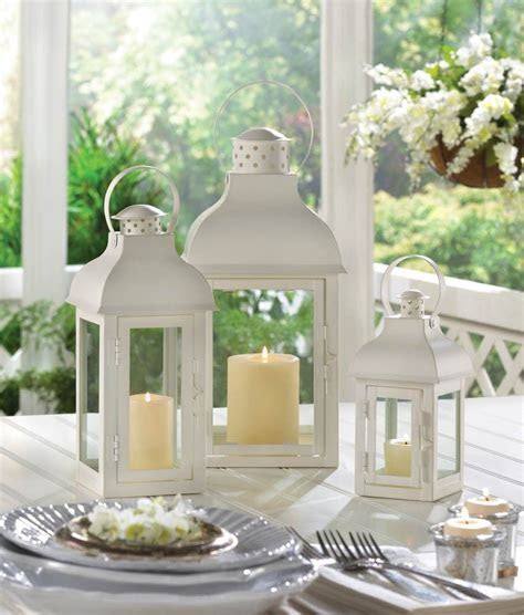 12 Medium White Gable Candle Lantern Wedding Centerpieces