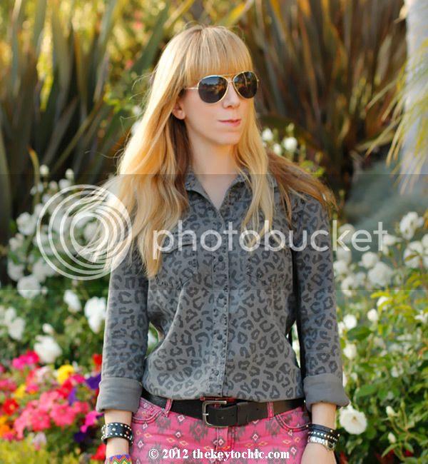 Equipment blouse, Southwestern cutoffs, tribal shorts, Los Angeles fashion blogger