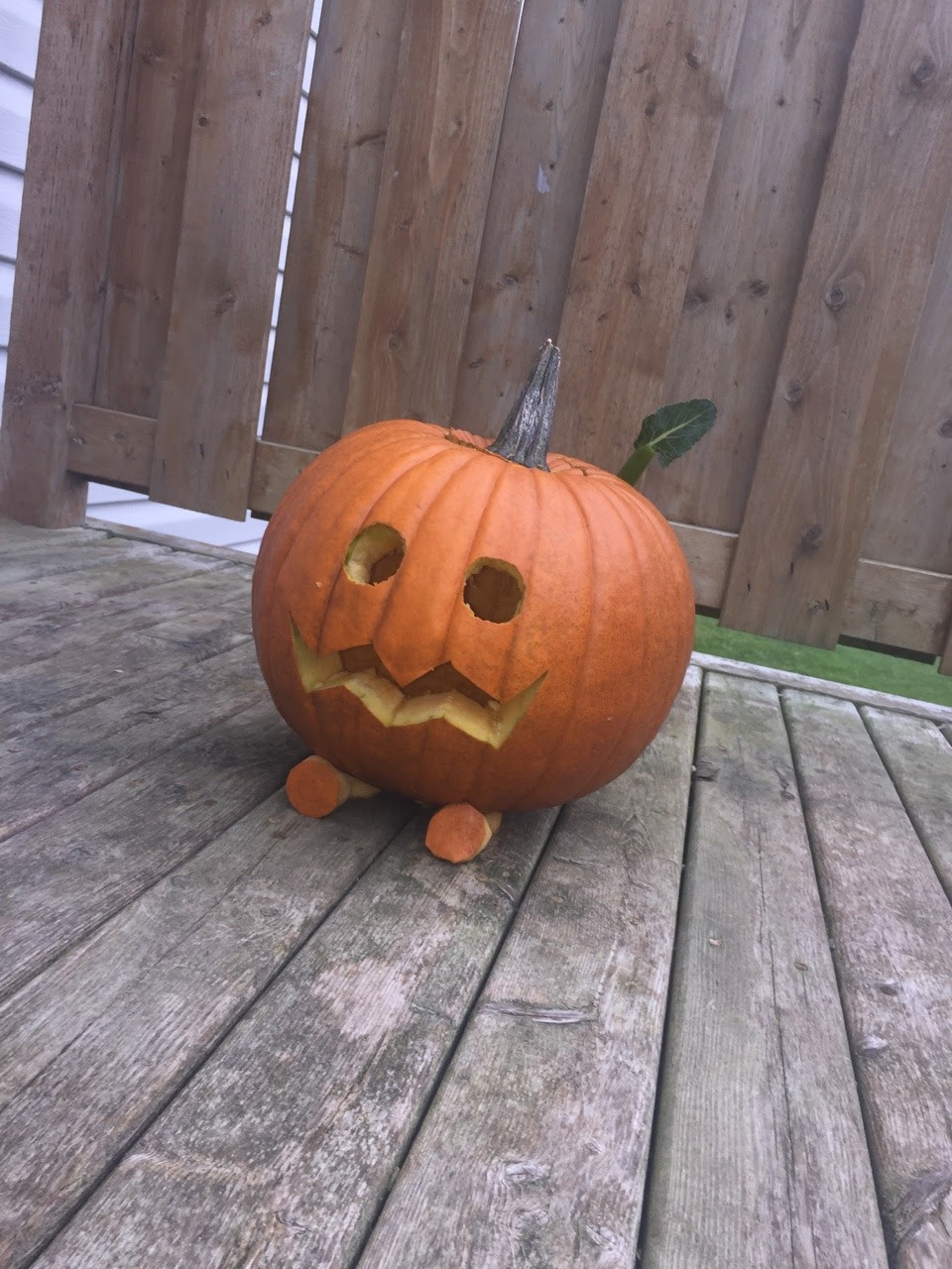 I'm not sure if it's cute or gruesome that I carved a pumpkin to look like this little guy