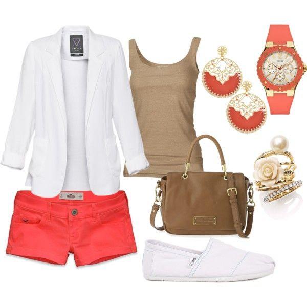 coral shorts & a white blazer <3