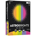 Neenah Astrobrights Paper, Letter, Assorted Colors, 24lb, 500 sheets