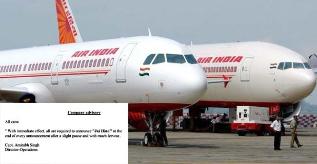 Air India's new rule of saying 'Jai Hind' on every announcement makes Indians tweet