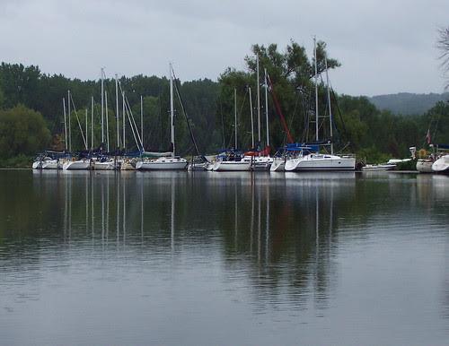 Sailboats on a rainy day