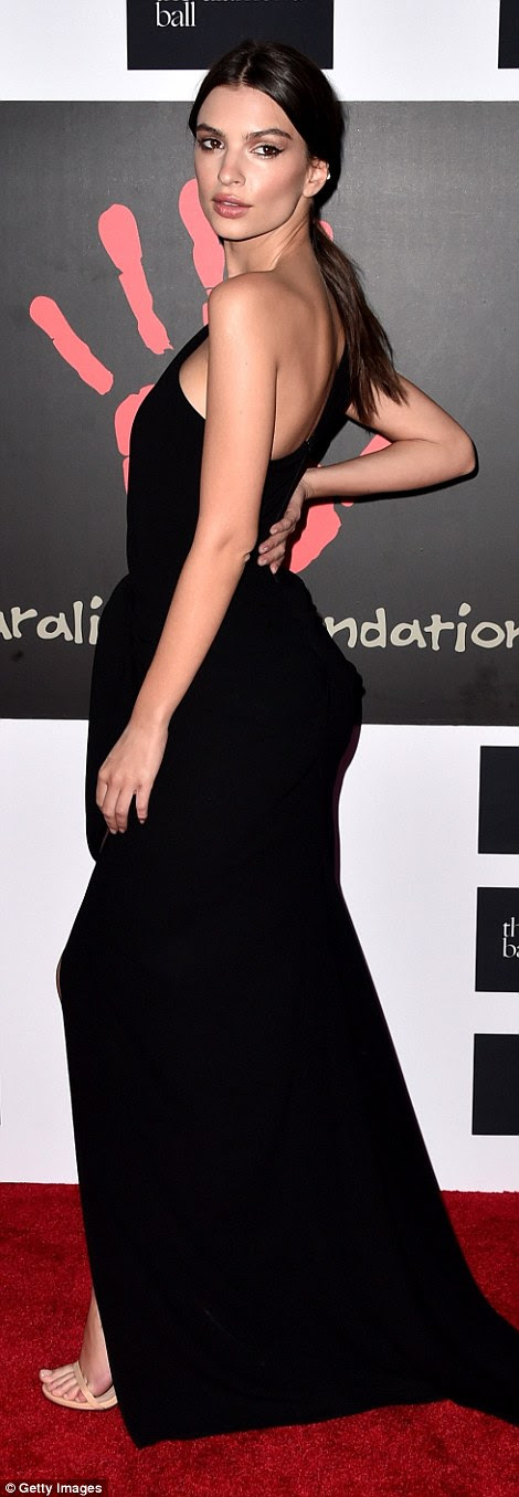 Strike a pose: The model and actress looked gorgeous in a one-shoulder gown with small bustle waist