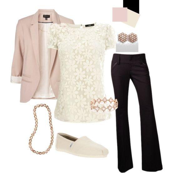 Slacks and pink blazer (instead of Toms shoes, I prefer high heels)