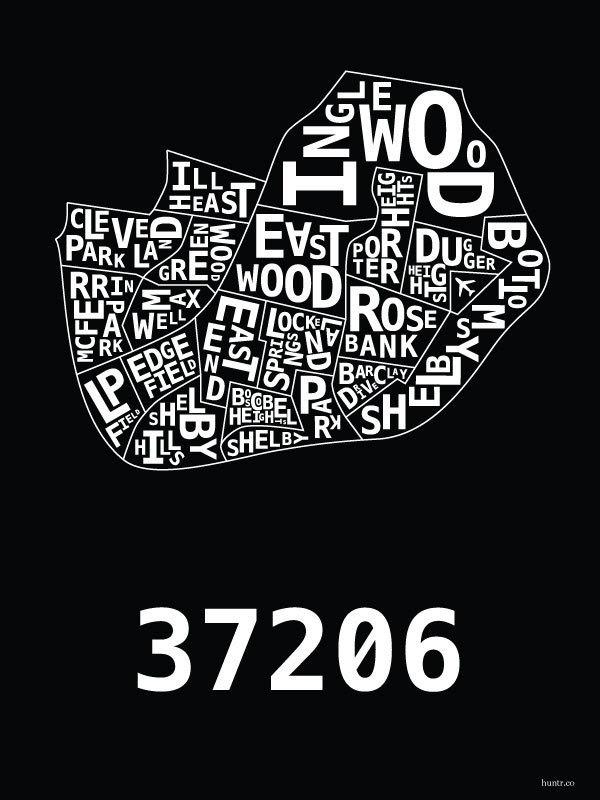 East Nashville Hood Print by thehoodshop on Etsy
