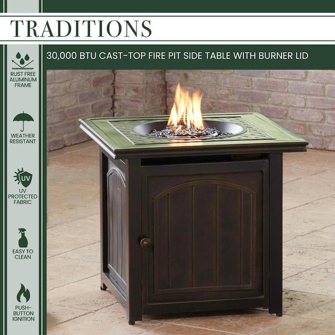 Hanover Traditions Square Outdoor End Table 25.98-in W x ...