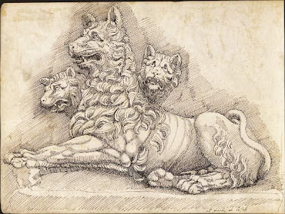 Pierre Jacques sketch of the 3-headed dog, Cerberus