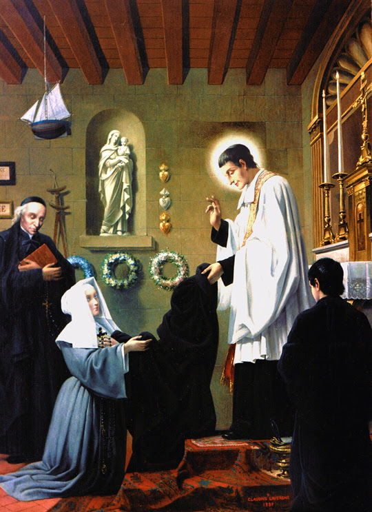 Blessed Marie-Louise Trichet takes the habit from Saint Louis de Montfort as the first of the Daughters of Wisdom