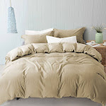 Amrapur Overseas 3pc. Linen and Cotton Duvet Set Queen Natural