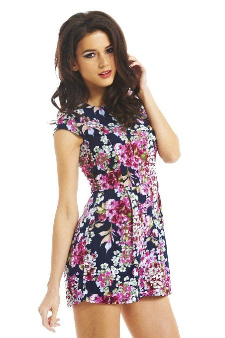 AX Paris Women's Navy Floral Print Romper: Clothing
