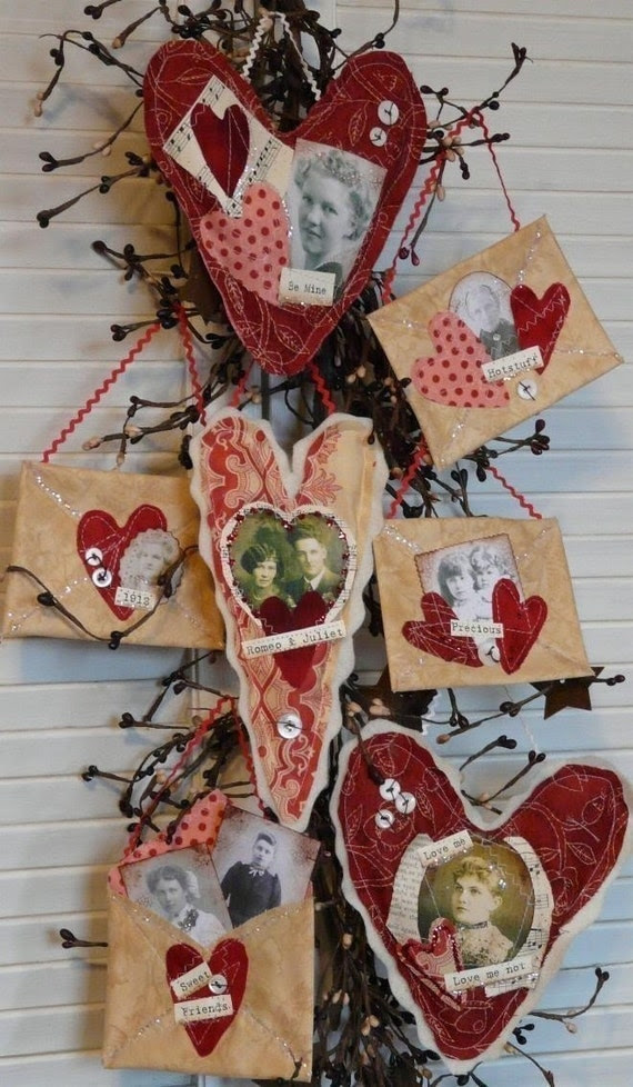 Primitive Valentine Altered Art Hearts Envelope E Pattern  - pdf email letter tokens of my affection old photos sayings words decor