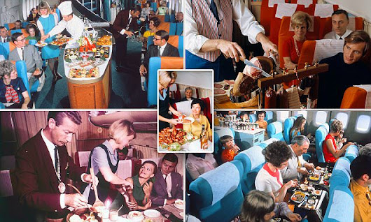 Vintage photos from the 50s to 80s show airline menus featured caviar