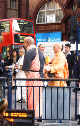 Hare Krishnas outside Oxford Circus Tube Station