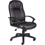 Boss B7641 High Back Leather Plus Chair, Black