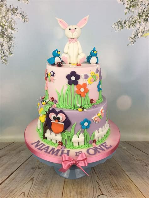 1st Birthday Cake With Bunny Topper   Mel's Amazing Cakes