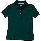 French Toast Girl's Short Sleeve Interlock Polo with Picot Collar, Green, Small