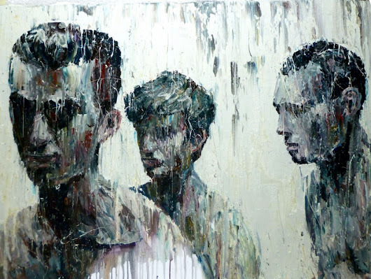 Artist applies and deconstructs oil on canvas to create beautiful figurative paintings