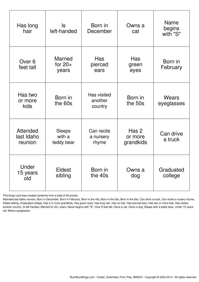1000+ images about Get To Know Someone BINGO on Pinterest ...