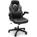 OFM Essentials Leather Racing Style Swivel Gaming Chair, Gray/Black