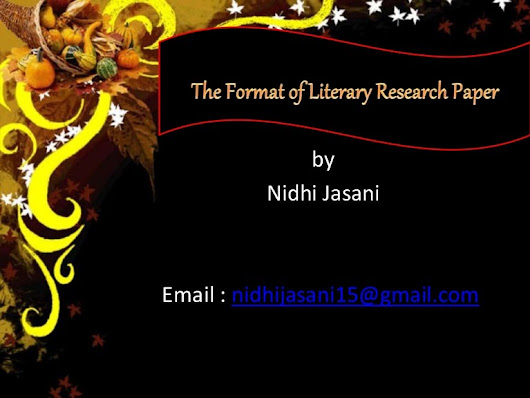 The foment of good literary research paper