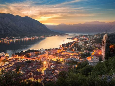 montenegro city kotor  night desktop wallpaper hd