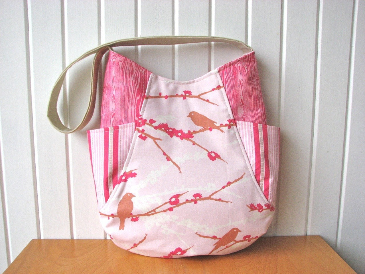 Hobo Tote Bag in Sparrows in Pink - Ready to ship