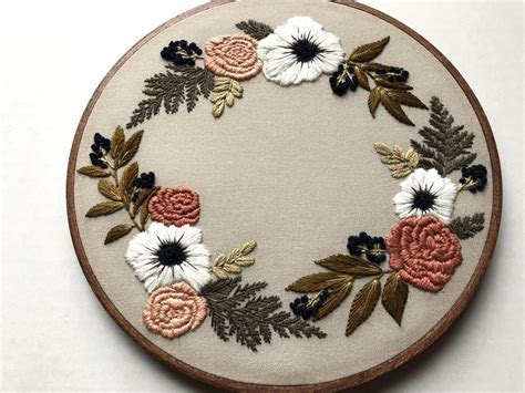 Hand Embroidery Kit   Floral Wreath ? Hoffelt & Hooper Co