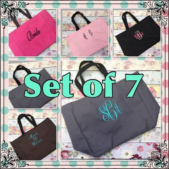 Seven Bridesmaid Tote Bags Bridesmaid Gifts Tote Bag Beach Bag