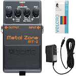 Boss MT-2 Metal Zone Distortion Guitar Pedal w/ 9V DC 1000mA Power Supply & Cable