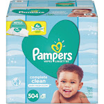 Pampers Complete Clean Baby Wipes, 1 Ply, Baby Fresh, 504-Pack