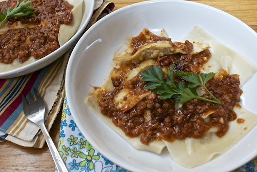 Sweet Plantain Ravioli with Chorizo Chipotle Sauce
