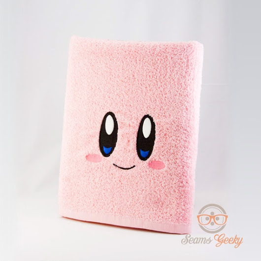 Kirby Inspired  Embroidered Bath Towel by SeamsGeeky on Etsy