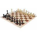 Master Series Plastic Chess Set Black & Tan Pieces with Brown Roll-up Chess Board