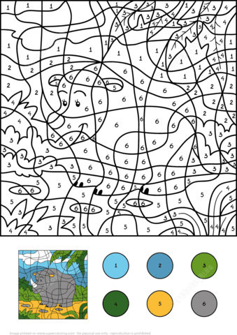 rhino colornumber  free printable coloring pages