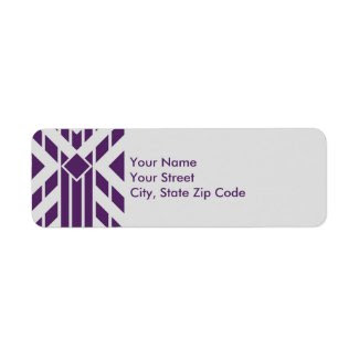 Purple Parallelogram Stripes on Gray address label