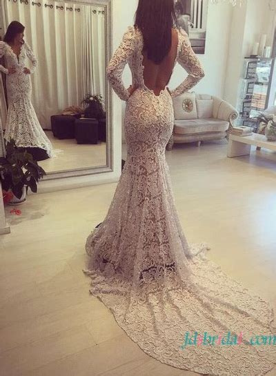 H1609 Sexy simple lace mermaid wedding dress with open back