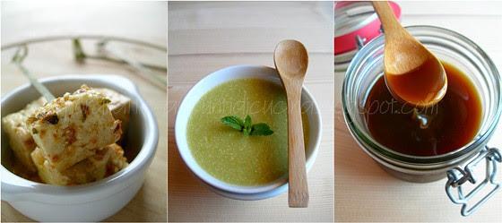Feta marinata, vellutata di asparagi e quinoa e dulce de leche di latte di mandorle