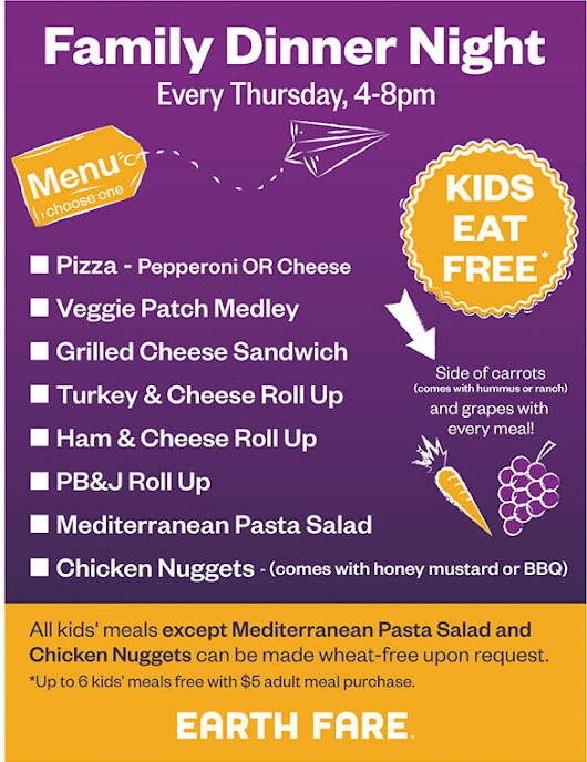 Things I <3 Thursdays {Earth Fare - Free Kids Meals!!}