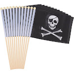 12-Piece Jolly Roger Stick Flags - Black Pirate Hand-Held Flags, Polyester Stick Flag Banners, Decorations Parties, Parades Festivals, 5.5 X 8.3