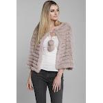 Rabbit Fur Poncho with Fur Pom Pom Suede Tie Closure One Size / Dusty Rose