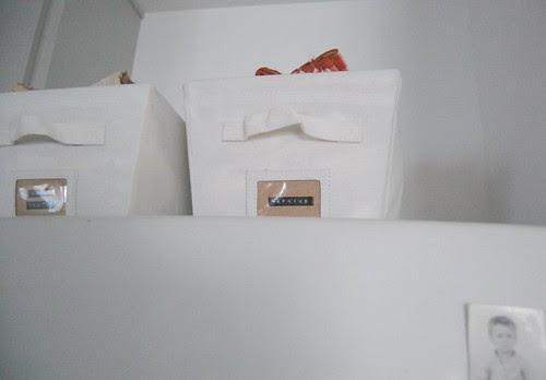 canvas bins keep table linens tidy